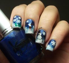 The Clockwise Nail Polish: Sunday Stamping Challenge: Winter is Here & Kinetics Call Me Blue & ST02 & MoYou Festive 01
