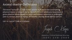 """13A-11-240(a) Code of #Alabama - Animal cruelty–Definitions  The word """"torture"""" as used in this article shall mean the act of doing physical injury to a dog or cat by the infliction of inhumane treatment or gross physical abuse meant to cause said animal intensive or prolonged pain or serious physical injury, or thereby causing death due to said act.  #Criminal Defense #Lawyer #AL #KLF"""