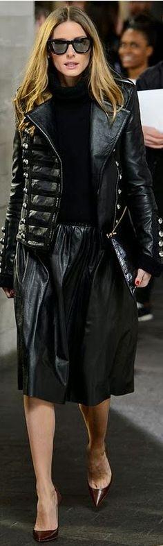 Olivia Palermo: Sunglasses – Westward Leaning  Jacket – Boda leather  Skirt – Reiss  Shoes – Christian Louboutin  Purse – Whistles