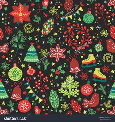 Christmas Seamless Pattern With Fir Tree, Poinsettia, Cone, Wreath, Ball, Bauble, Skates, Garland, Confetti, Bird, Star, Bell, Fir Branch, Cookie, Flowers, Berry, Snowflakes And Other Holiday Symbols Stock Vector Illustration 339646718 : Shutterstock