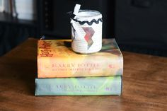 She's crafty: Harry Potter book page candle/candy jar