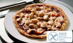 Receta de Pizza sin gluten500 g. de harina sin gluten 10 g. de sal 50 g. de mantequilla 250 g. de agua 10 g. de levadura (o bien sustituir por bicarbonato )