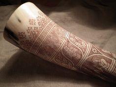 Horn 2 by fibacz on DeviantArt Viking Horn, Viking Age, Ale Horn, Vikings, Viking People, Viking Drinking Horn, Powder Horn, Old Norse, Asatru