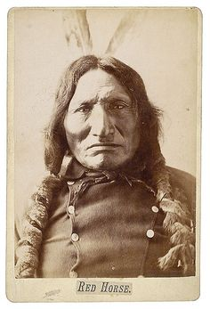 Chief Red Horse-Tasunke Luta (1822-1907), was a sub-chief of the Miniconjou Sioux.  He fought both Reno and Custer and documented the battle of the Little Bighorn in 1881 with 41 ledger drawings.
