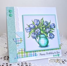 ChristineCreations: Tulips in Hobnail Pitcher digital stamp set by Power Poppy.