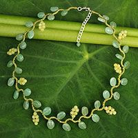 Aventurine and serpentine beaded necklace, 'Sweet Yellow Ivy' by NOVICA