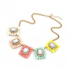 A candy shop dream - a statement pastel hue necklace with crystal gems!  We adore this necklace here at Treasure Box