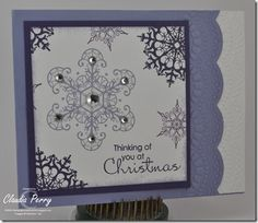snowflake soiree in purple for my Christmas Card Challenge, week #6
