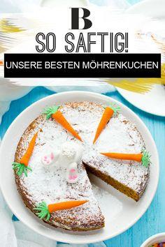 Möhrenkuchen Rezepte. Der Möhrenkuchen ist auch bekannt unter Karottenkuchen oder Rüblikuchen und ist eine Kuchenspezialität aus der Schweiz – der Name ist aber eigentlich egal, der Kuchen schmeckt einfach. Er ist lecker saftig und vielfältig. Es gibt so viele Varianten: Wir haben einen Möhren-Ingwer-Kuchen, Möhren-Muffins, einen Möhrenstrudel und noch viele weitere Rezepte. #kuchen #backen #karotten #rüblitorte Breakfast, Hacks, Food, Cake Baking, Pies, Morning Coffee, Essen, Meals, Yemek