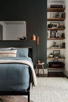 How to Build the Perfect Mid Century Bedroom! - Discover the best mid-century bedroom inspirations Small Room Bedroom, Bedroom Wall, Bedroom Lamps, Small Rooms, Bed Rooms, Bedroom Furniture, Bedroom Boys, Furniture Layout, Bedroom Storage