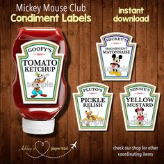 These Paw Patrol condiment labels are perfect for your little ones birthday celebration. The labels fit the larger Heinz squeeze bottles. Mickey Mouse Clubhouse Birthday Party, Mickey Birthday, Mickey Party, 3rd Birthday Parties, 2nd Birthday, Birthday Ideas, Birthday Celebration, Chuggington Birthday, Snoopy Birthday