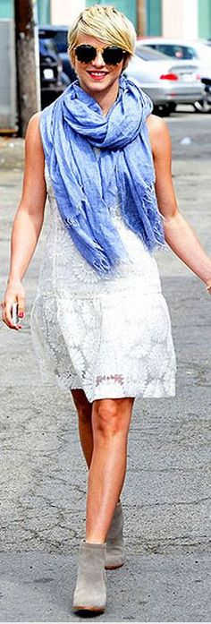 Who made  Julianne Hough's white lace dress?