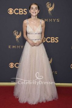 Kiernan Shipka Beaded Spaghetti Strap Deep V-neck Ball Gown Dress 2017 Primetime EMMY Awards