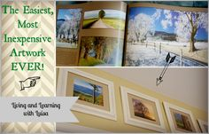 Easiest and Most Inexpensive Artwork Ever!  via Living and Learning with Luisa -USING BOOK PAGES FOR FRAMES