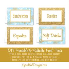 Winter Onederland Party Decorations - Baby Blue and Gold Glitter Party Food Tents - Folding Editable Text Buffet Labels - Table Place Cards