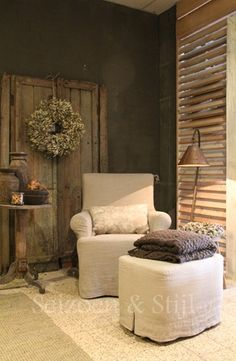 Cute chair & ottoman adds a little southern charm to this cozy little room!!