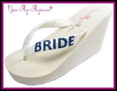 Bride Flip Flops Bridal Bling Ivory White Glitter Wedge Womens Wedding Platform Satin Flip Flops