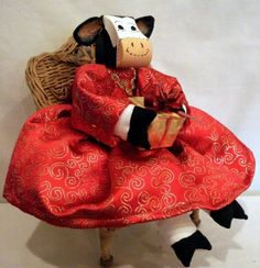 Clara Cow Doll Dressed In Red by uniquelynancy on Etsy, $28.00