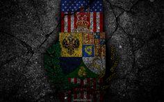 Download wallpapers Alaska State coat of arms, grunge, Alaska symbolism, Coat of arms of Alaska, American flag, Alaska coat of arms, USA
