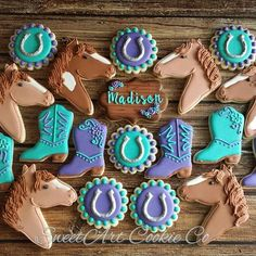 Ideas Birthday Cake Number Sugar Cookies For 2019 Cowgirl Birthday Cakes, Horse Birthday Parties, Birthday Cake Girls, Birthday Cookies, Cowgirl Party, 3rd Birthday, Birthday Ideas, Cowgirl Cookies, Horse Cookies