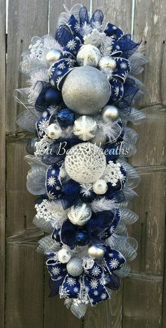 Blue White Christmas Stunning Blue Christmas by BaBamWreaths Christmas Door Hangings, Silver Christmas Decorations, Christmas Mesh Wreaths, Christmas Swags, Christmas Centerpieces, White Christmas, Christmas Crafts, Winter Wreaths, Door Wreaths