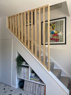 Staircase Shelves, House Staircase, Open Staircase, Interior Stair Railing, Build A Frame, Cottage Style House Plans, House Extension Design, Home Stairs Design, Hallway Designs