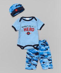 Another great find on #zulily! Mon Cheri Baby Blue 'Daddy Is My Hero' Bodysuit Set - Infant by Mon Cheri Baby #zulilyfinds
