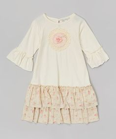 Loving this Ecru & Floral Ruffle Swing Dress - Infant, Toddler & Girls on #zulily! #zulilyfinds