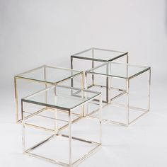 Compasso / Set of 4 Silver Plated Low Tables by Lino Sabattini