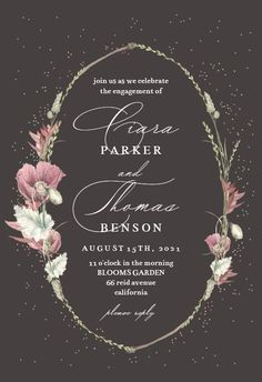 Poppy Flower Wreath - Engagement Party Invitation #invitations #printable #diy #template #Engagement #party #wedding Free Wedding Invitations, Christening Invitations, Engagement Party Invitations, Bridal Shower Invitations, Poppies, Wreaths, Eid Crafts, Gift Registry, Response Cards