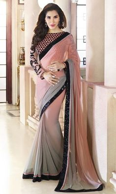 Buy Desirable Grey Shaded Chiffon Saree For Party And Designer Online Shop Indian Designer Sarees, Ethnic Wear Designer, Indian Sarees, Pakistani, Chiffon Saree, Bollywood Saree, Bollywood Fashion, Hanfu, Cheongsam
