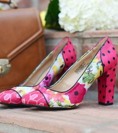Upcycle Shoes | Fabric Covered Pumps by @merricksart