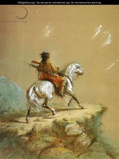 Alfred Jacob Miller - Crow Indian on the Lookout kp Native American Cherokee, Native American Photos, Native American Artists, Native American Indians, Native Americans, Jacob Miller, Crow Indians, Indian Paintings, Horse Paintings
