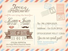 Save The Date Postcards  Postcard Template Designs  Wedding