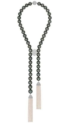 Chanel Perles de Nuit necklace in white gold, from the new Les Perles de Chanel collection, set with brilliant-, cushion-, pear- and oval-cut diamonds, 47 Tahitian cultured pearls and 1,362 Japanese cultured pearls.