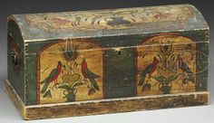 PENNSYLVANIA DUTCH PAINT-DECORATED DOME TOP TRUNK. Mid 19th Century. Two tombstone panels, each with pair of fanciful birds perched on flowers
