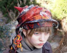 Unique nuno felted hat, grey , red and orange. OOAK. $69.00, via Etsy.