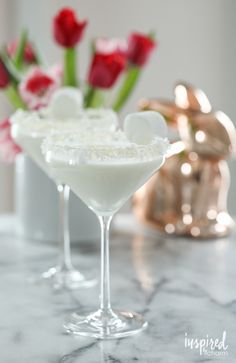 Cottontail Martini - a coconut martini cocktail recipe for spring and Easter.