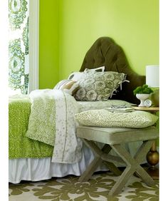 Bedroom Decorating Ideas: Bed of Greens - Home and Garden Design Ideas