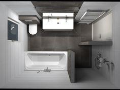 Badkamer, klein maar fijn. Perfect met bad en extra wc. bij geen ruimte elders voor wasmachine/droger kunnen deze bovenop elkaar op die plek.