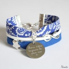 Bracelet liberty claire emily bleu - gravé personnalisé