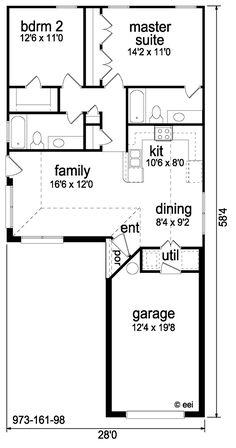 Mediterranean Style House Plan - 2 Beds 2 Baths 973 Sq/Ft Plan #84-284 Floor Plan - Main Floor Plan - Houseplans.com