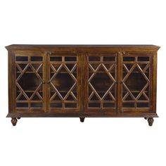 Features:  -Mango wood material.  -4 Glass panel doors.  -Diamond fretwork.  -4 Fixed interior shelves.  -Cord management.  Base Finish: -Brown.  Top Finish: -Brown.  Base Material: -Other/Wood.  Top