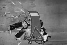 177 of 183. Beans pushes the wind machine into The Monster, which breaks the creature apart. | Hollywood Capers (1935) | A Warner Bros./Looney Tunes short animated film featuring Beans the Cat. Directed by Jack King.