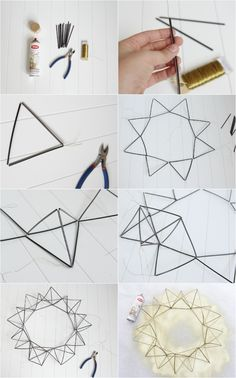 DIY Himmeli Wreath - Decor Fix - A DIY Himmeli Wreath made from coffee stirrers, floral wire, and spray paint - Diy Straw, Straw Wreath, Deco Floral, Wire Art, How To Make Wreaths, Diy Projects To Try, Geometric Shapes, Diy And Crafts, Christmas Crafts