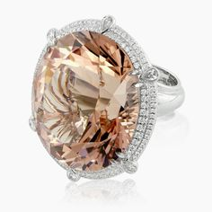 awesome MOne-Of-A-Kind Morganite Ring Morganite Engagement, Morganite Ring, Pretty Rings, Beautiful Rings, I Love Jewelry, Fine Jewelry, Diamond Are A Girls Best Friend, Gemstone Rings, Jewelry Accessories