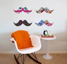 Adesivo de Parede Mustache Mania