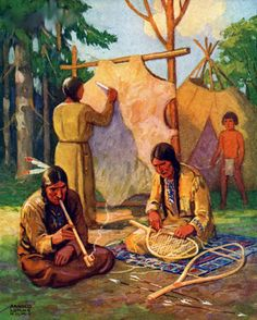 Native Americans Tanning Buffalo Hide And Stringing Snowshoes