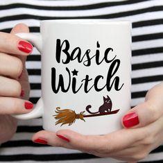 Basic witch custom coffee mug with cat on the broom. Personalized Halloween gift mug. Halloween Gifts, Fall Halloween, Handmade Design, Mug Designs, Gifts In A Mug, White Ceramics, Print Design, Coffee Mugs, Witch