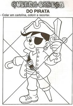 Pirata take a picture and turn into a shape puzzle and time it as a game Preschool Pirate Theme, Pirate Activities, Preschool Crafts, Pirate Crafts, Pirate Art, Jack Le Pirate, Cartoon Drawings, Art Drawings, The Pirates